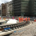 Trams to Centenary Square a step nearer as half of track now in place for phase one of Birmingham Westside Metro extension