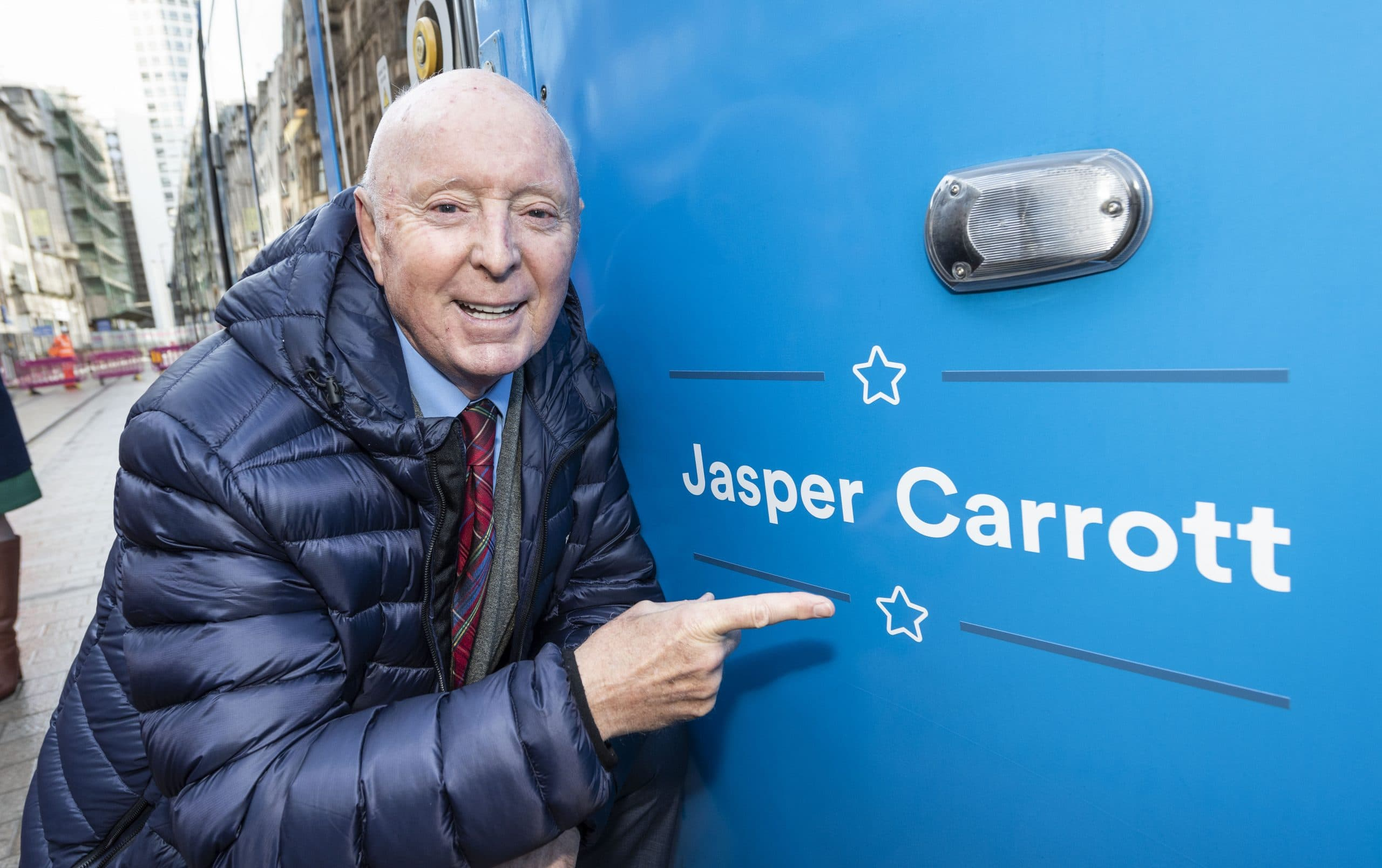 Jasper Carrott unveils tram named in his honour as Birmingham Westside extension moves ever closer to opening